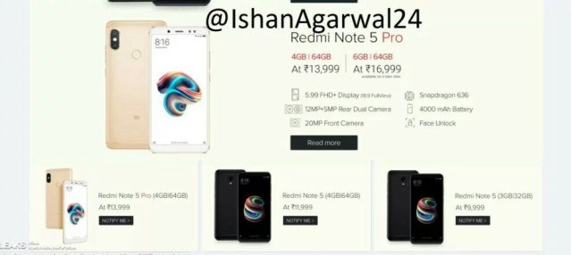 XIAOMI Redmi Note 5 and Redmi Note 5 pro Specs and Price Leaked